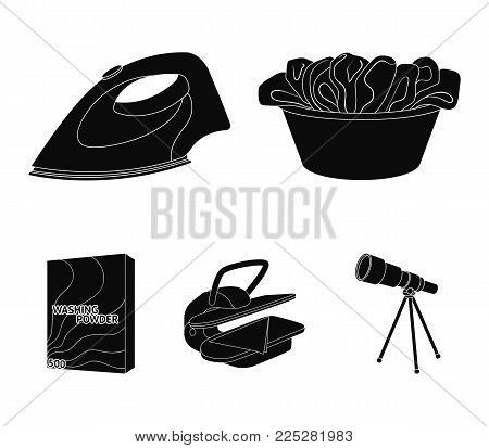 A bowl with laundry, iron, ironing press, washing powder. Dry cleaning set collection icons in black style vector symbol stock illustration .
