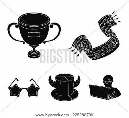 A scarf, a hat with horns and other attributes of the fans.Fans set collection icons in black style vector symbol stock illustration .