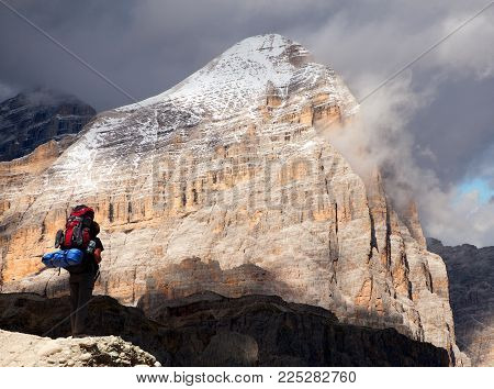 Tofana, Tofano or Le Tofane gruppe and tourist, Alps Dolomites mountains Italy