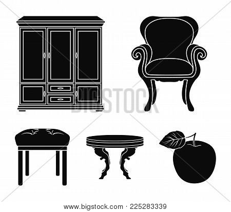 Furniture, interior, design, chair .Furniture and home interiorset collection icons in black style vector symbol stock illustration .