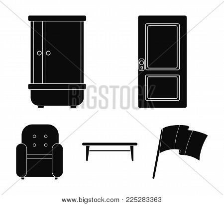 Door, shower, coffee table, armchair.Furniture set collection icons in black style vector symbol stock illustration .