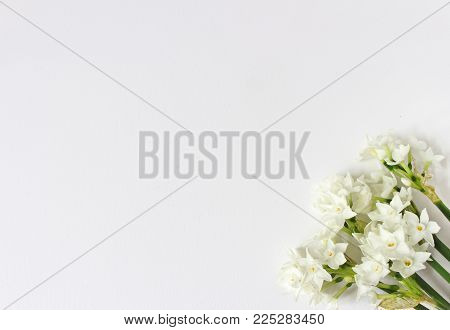 Spring styled stock photo. Easter concept. Feminine desktop scene with bouquet of narcissus, daffodil flowers on white table background. Empty space, flat lay, top view.