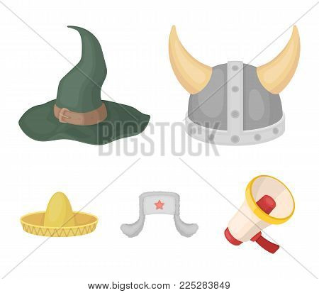 Sombrero, hat with ear-flaps, helmet of the viking.Hats set collection icons in cartoon style vector symbol stock illustration .
