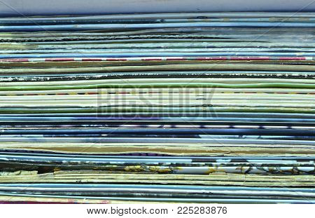 Horizontal background of old vinyl carton covers
