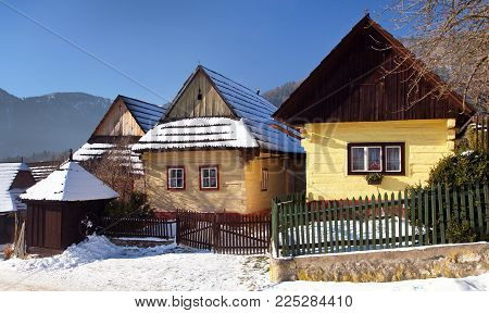 Beautiful colored houses in vlkolinec village, old architecture, Slovakia
