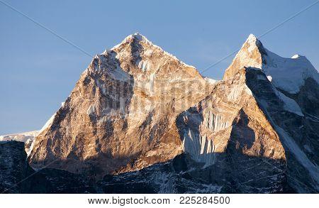 evening view of mount Kangtega and mount Thamserku, trek to Everest base camp, Khumbu valley, Solukhumbu, Sagarmatha national park, Nepalese Himalayas