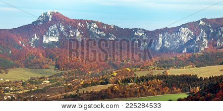 Panoramic autumnal view from Sulov rockies - sulovske skaly - Slovakia