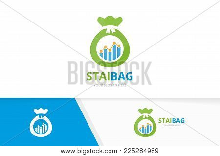 Vector graph and bag logo combination. Diagram and sack symbol or icon. Unique chart and money logotype design template.