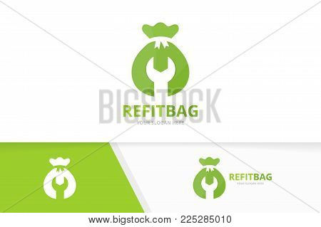 Vector of bag logo combination. Sack and repair symbol or icon. Unique money and fix logotype design template.