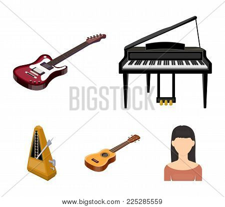 Musical instrument cartoon icons in set collection for design. String and Wind instrument isometric vector symbol stock  illustration.