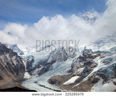 View of top of Mount Everest and Khumbu glacier with clouds from Kala Patthar way to mount Everest base camp, khumbu valley - Nepal