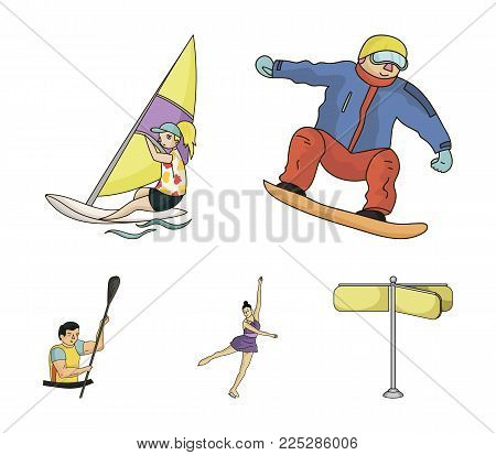 Snowboarding, sailing surfing, figure skating, kayaking. Olympic sports set collection icons in cartoon style vector symbol stock illustration .