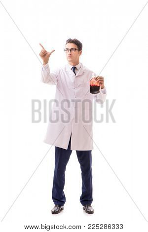 Doctor in blood donation concept isolated on white