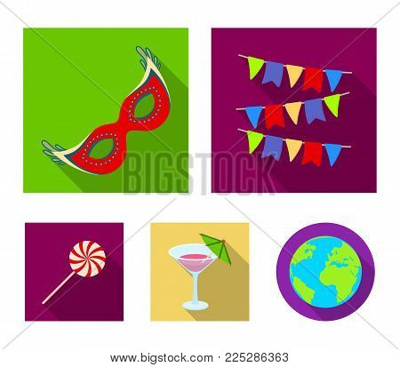Garlands, cocktail and other accessories at the party.Party and partits set collection icons in flat style vector symbol stock illustration .