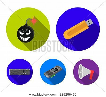 Flash drive, virus.klaviatura and other accessories. Personal computer set collection icons in flat style vector symbol stock illustration .