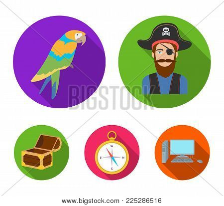 Pirate, bandit, hat, bandage .Pirates set collection icons in flat style vector symbol stock illustration .
