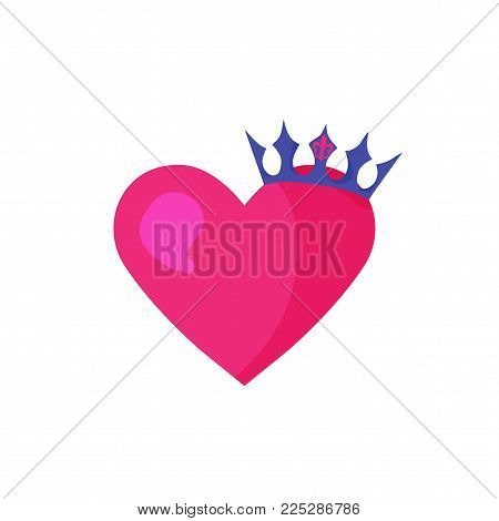Vector illustration of a Heart Shape and a crown. Good for Valentine's Day, engagements, bridal shower, prince and princess or prom pary party.