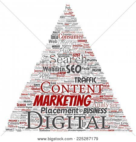 Concept or conceptual digital marketing seo traffic triangle arrow word cloud isolated background. Collage of business, market content, search, web push placement or communication technology