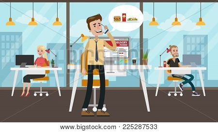 Businessman ordering food from smartphone. Calling for the order.