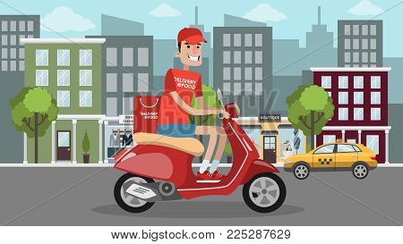 Man delivering food on scooter in the city.