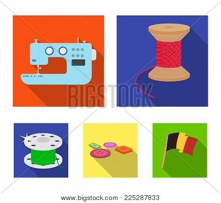 Thread reel, sewing machine, bobbin, pugwitz and other equipment. Sewing and equipment set collection icons in flat style vector symbol stock illustration .