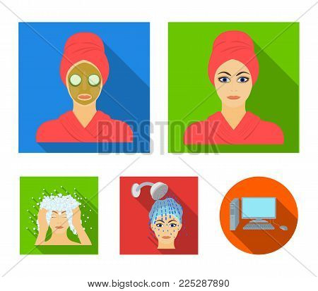Hands, hygiene, cosmetology and other  icon in flat style.Bath, clothes, means icons in set collection.