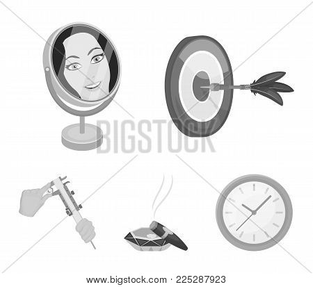 Game Darts, reflection in the mirror and other  icon in monochrome style. Cigar in ashtray, calipers in hands icons in set collection.