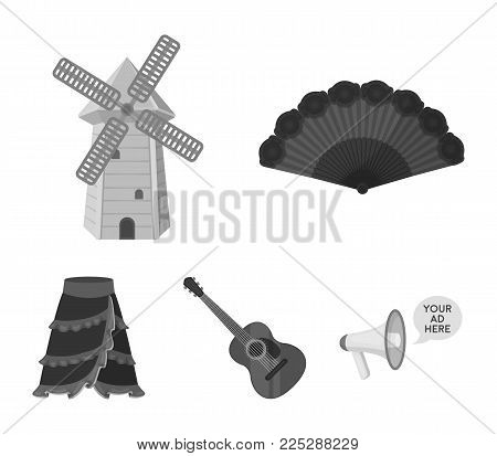 Fan Spanish, mill, guitar, skirt for national Spanish dances. Spain country set collection icons in monochrome style vector symbol stock illustration .