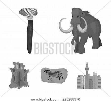 Primitive, mammoth, weapons, hammer .Stone age set collection icons in monochrome style vector symbol stock illustration .