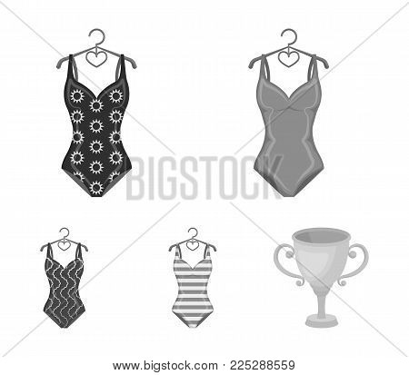 Different kinds of swimsuits. Swimsuitsset collection icons in monochrome style vector symbol stock illustration .