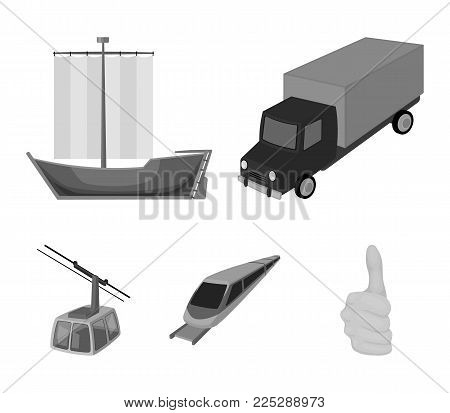 The truck, the boat, the subway, the funicular modes of transport. Transport set collection icons in monochrome style vector symbol stock illustration .