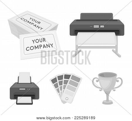 Printer, credit card, color palette.Typography set collection icons in monochrome style vector symbol stock illustration .