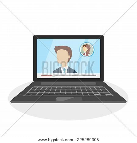 Call on laptop. People on the screen. Online call.