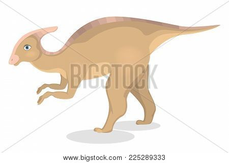 Parasaurolophus dinosaur isolated ancient creature on white.