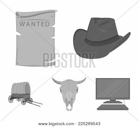 Cowboy hat, is searched, cart, bull's skull. Wild West set collection icons in monochrome style vector symbol stock illustration .