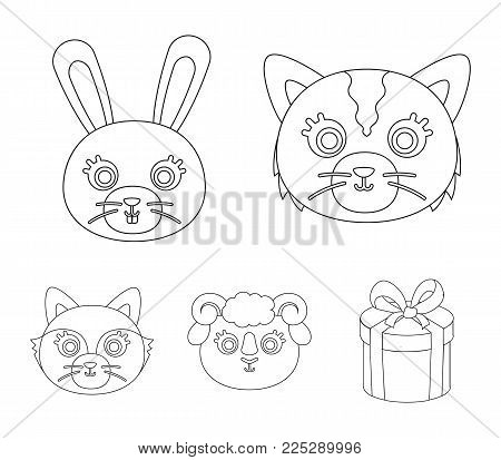 Cat, rabbit, fox, sheep. Animal's muzzle set collection icons in outline style vector symbol stock illustration .