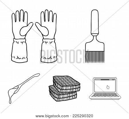 A spoon of honey, protective gloves, a honeycomb with honey, a fork.Apiary set collection icons in flat style vector symbol stock illustration .