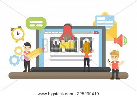 Web site building. People creating interface and functions.