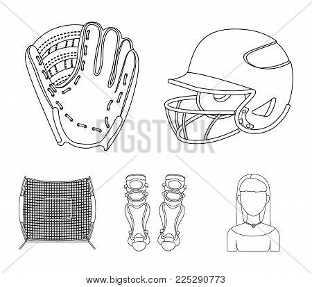 Helmet protective, knee pads and other accessories. Baseball set collection icons in outline style vector symbol stock illustration .