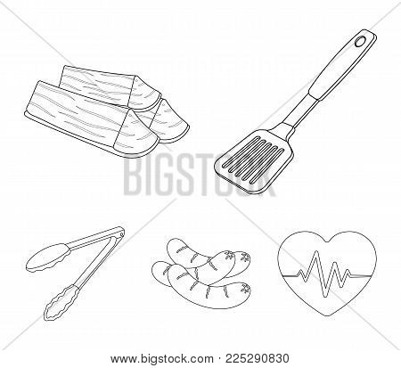 Blade kitchen, firewood, sausages and other for barbecue.BBQ set collection icons in outline style vector symbol stock illustration .