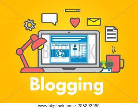 Blogging concept on yellow background. Laptop with icons. Social media sharing. Blog post flat line style. Business design. Trendy vector illustration.