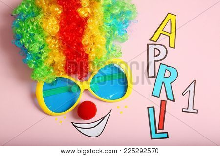 Rainbow wig, funny glasses and phrase