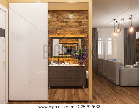Architectural render of the interior hallway in warm colors. 3d illustration of the interior design of an apartment in Scandinavian style.