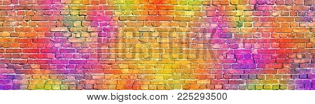 colorful brick wall background. painted in different colors brickwork. colored brick wall as a backdrop