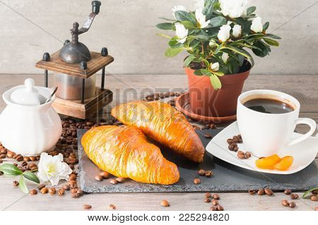 Food and drink, still life concept. Fresh croissants for breakfast lunch meal. Good start for a day.
