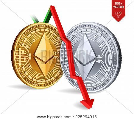 Ethereum. Fall. Red arrow down. Ethereum index rating go down on exchange market. Crypto currency. 3D isometric Physical Golden and silver coins isolated on white background. Vector illustration