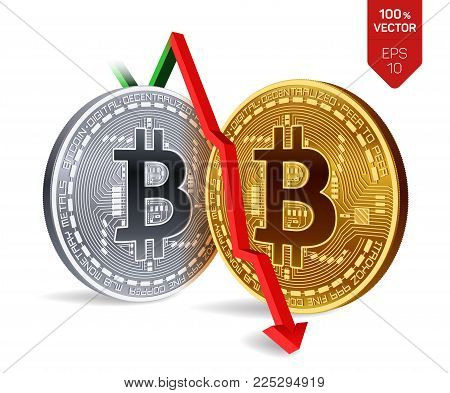 Bitcoin. Fall. Red arrow down. Bitcoin. index rating go down on exchange market. Crypto currency. 3D isometric Physical Golden coin isolated on white background. Vector illustration