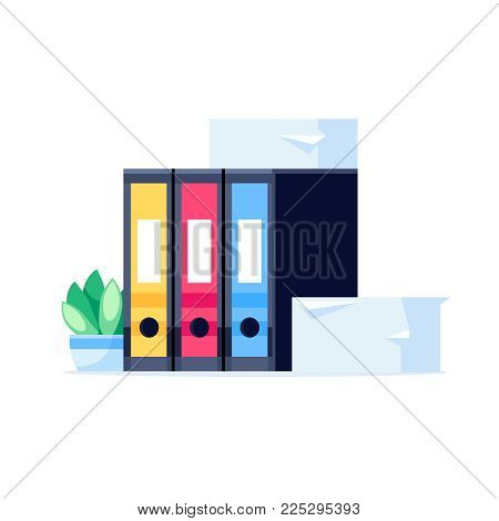 Stack of office folders isolated on white background. Pile of folders for papers in a flat style. Vector illustration.
