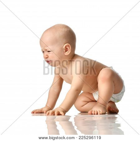Small infant child baby girl toddler sad crying screaming isolated on a white background