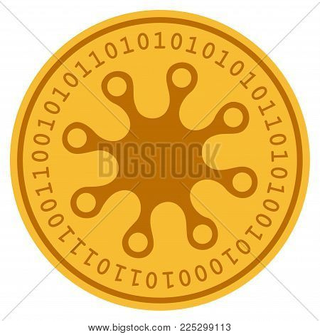 Axenic golden digital coin icon. Vector style is a gold yellow flat coin cryptocurrency symbol.
